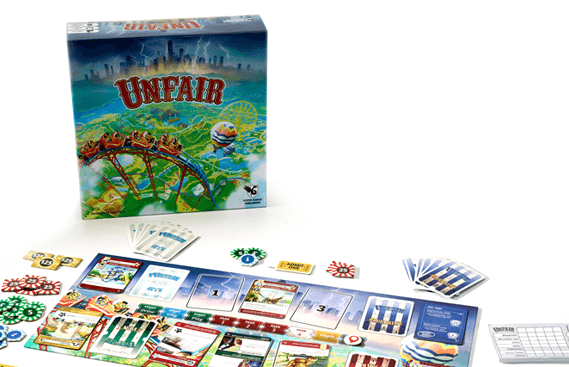 Components for Unfair, the board game